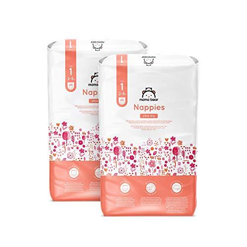 Amazon Brand - Mama Bear - 96 Ultra Dry Nappies - Size 1 (2-5 kg) - New Version