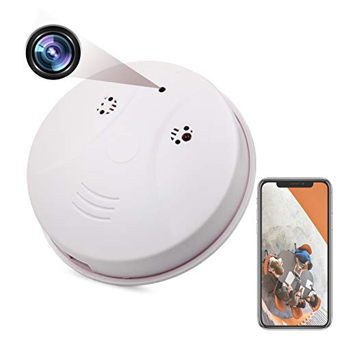 Spy Camera Wireless Hidden Smoke Detector Camera Wireless HD 1080P Cam Security Nanny WiFi Mini Video Recorder with Motion Detector/Night Vision Function Support iOS / Android