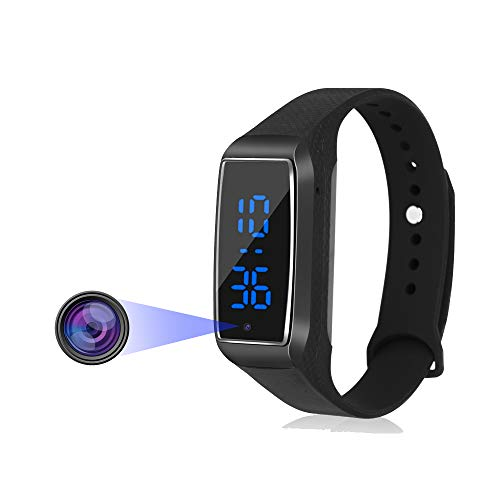 Mini Spy Camera Hidden Camera 1080P Wearable Bracelet Camera Portable Nanny Cam Wristband Sports Camera for Indoor Outdoor Home Security(not included SD card)