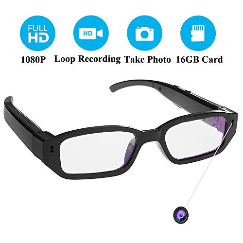 Spy Cameras, OMOUP 16GB 1080P HD Glasses with Camera Mini Eyewear Hidden Camera Glasses Security Camera for Classroom Meeting Travel
