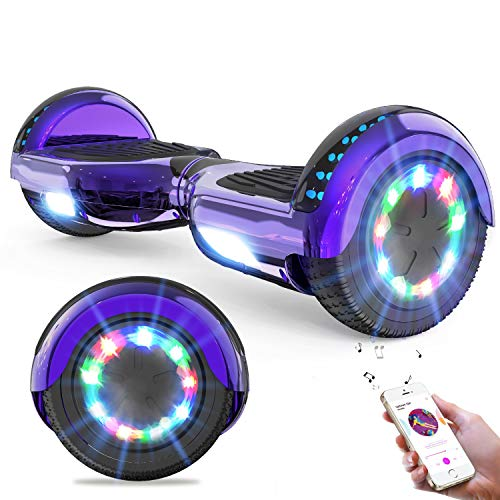 GeekMe Hoverboards for kids 6.5 Inch Electric Scooter Board with Bluetooth - Speaker - Beautiful LED Lights Gift for kids and teenager and adults