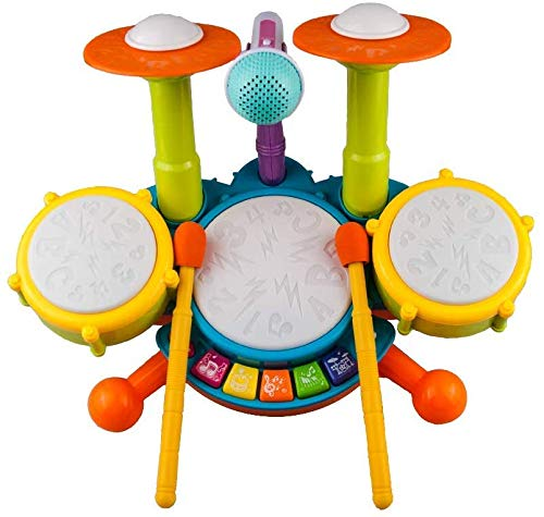 Kids Drum Set, Rabing Electric Musical Instruments Toys with 2 Drum Sticks, Beats Flash Light and Adjustable Microphone, Early Learning Birthday Gift for 1-12 Years Old Boys and Girls, Multicolor