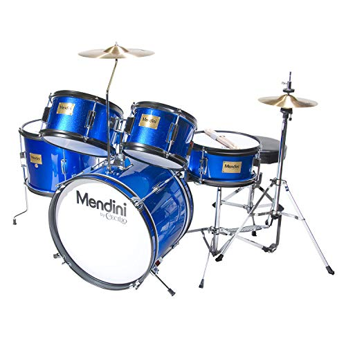 Mendini by Cecilio 16 inch 5-Piece Complete Kids / Junior Drum Set with Adjustable Throne, Cymbal, Pedal & Drumsticks, Metallic Blue, MJDS-5-BL