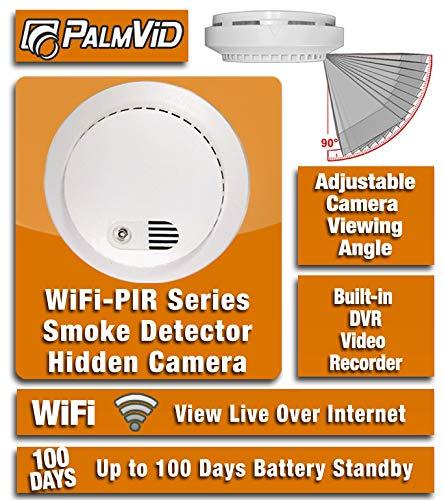 PalmVID WiFi PIR Smoke Detector Hidden Camera Spy Camera with Live Video Viewing