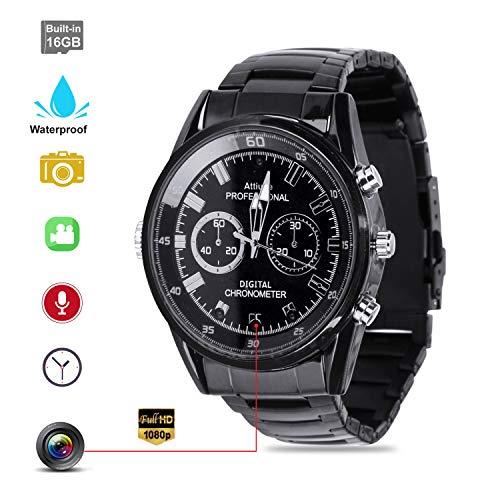 Hidden Camera Wrist Watch Camera Waterproof Hidden Spy Camera with Smart Watch HD 1920×1080P Motion Detection Infrared Night Vision High-end Camera 16GB