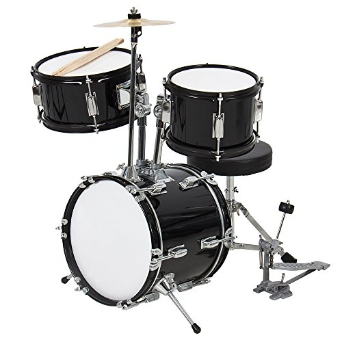 Best Choice Products 3-Piece Kids Beginner Drum Set with Cushioned Stool, Drum Pedal, Black
