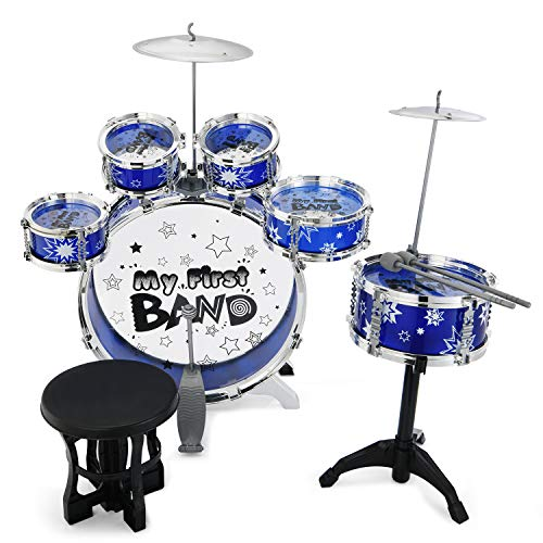 Reditmo Kids Jazz Drum Set - 6 Drums, Cymbal, Chair, Kick Pedal, 2 Drumsticks, Stool, Introductory Instrument to Develop Children's Creativity, Blue