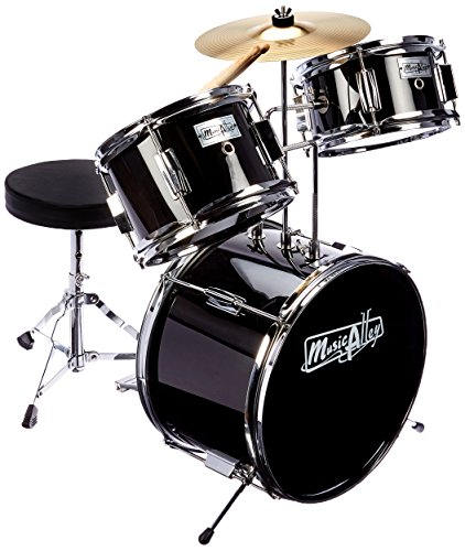 Music Alley Kids 3 Piece Beginners Drum Kit, Black, inch (DBJK02-BK)