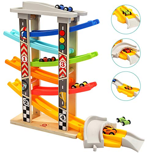 TOP BRIGHT Wooden Car Ramp Toys for 1 2 year Old Boy Gifts, Click Clack Racing Track Includes Parking Lot, Car Garage with 6 Mini Cars