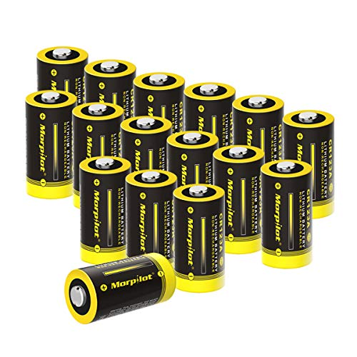 CR123A 3V Lithium Battery,Morpilot 16 Pack 1600mAh CR 17345 Batteries for Digital Cameras,Alarm Systems,Security Systems,Smoke Detectors,Flashlights and More-Not Compatible with Arlo Cameras (16 PACK)