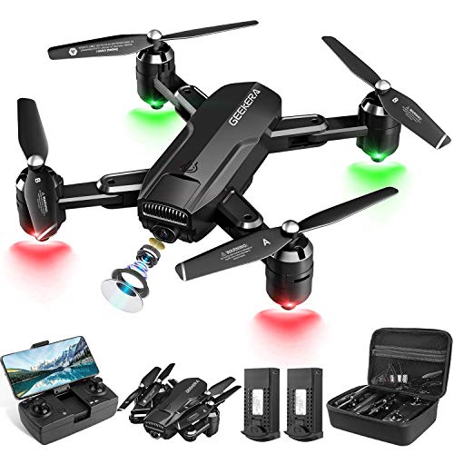 GEEKERA Mini Drone with 1080P FPV HD Camera for Adults, RC Foldable Quadcopter with Tap Fly, Gesture Control, Altitude Hold, Headless Mode, 3D Flips, Long Flight Time 30mins, Carrying Case