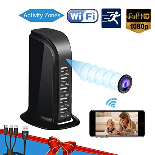 Hidden Camera Spy Camera, WiFi Hidden Camera with Remote Viewing, Hidden Cameras 1080P Video Recorder Wireless Nanny Camera for Home Security with Motion Detection 2019 Upgraded Version
