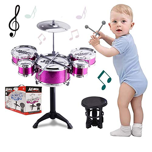 SKLOER Kids Drum Set Toddler Instrument Set Educational Percussion Stimulating Children's Creativity Drum Set for Kids Ages 3-5 Boys and Girls Ideal Gift Purple