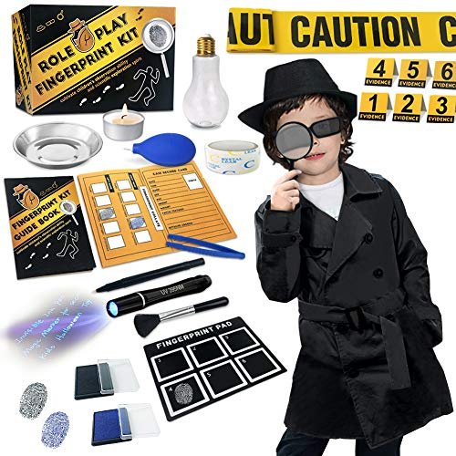 Spy Kit for Kids Detective Outfit Fingerprint Toys Gifts for 5 6 7 8 9 10 11 Year Old Boys Girls Investigation Role Play Dress Up Costume Educational Science Secret Agent Finger Print Identification