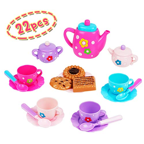 Nuheby Kids Tea Set Cake Toy for Girls Boys Kids 3 4 5 Years Old-Teapot Set Pretend Role Play Toy Food Party Game for Kids Birthday Gifts (22pcs)