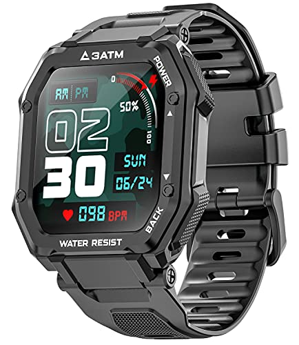 Smart Watches for Men Women, Activing Fitness Tracker with Heart Rate Blood Oxygen Monitoring 3ATM Waterproof 1.69 inch Full Touch Screen Smart Watch for iOS Android (Black)
