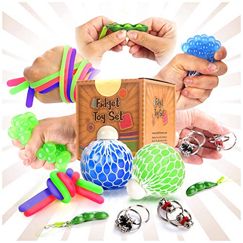 Fidget Sensory Toys for for Autism, ADHD. 2 Stress Relief Balls, 2 Soybean Squeeze, 2 Flippy Chain and 3 Large Size Stretch Strings with Reusable Packaging (Premuim Quality)