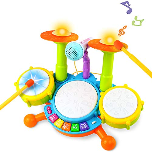 Kids Toy Drum Set Musical Instruments for Toddlers with Nursery Rhymes Electronic Drum Kit Gift Idea for Kid Boys Girls, 3 Years+