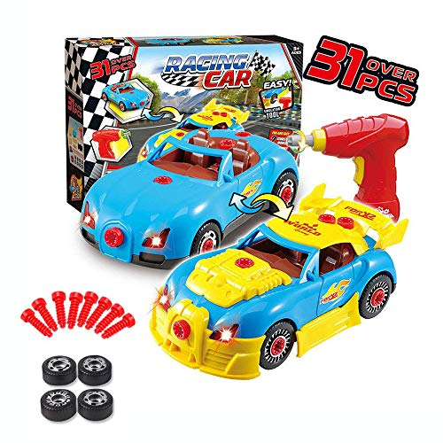 Enllonish Toys for 3 year olds Boys & 4 year old Boy Gifts,Take Apart Toy Car Racing-3D Take Apart Pieces With Realistic Sounds & Lights