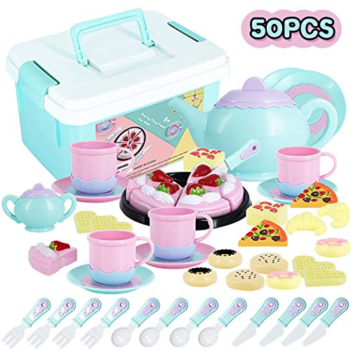 Tea Time Toys 50 Pieces Party Play Food for Kids, DIY Cutting Birthday Party Cake Toys Set Dessert,Cookies,Doughnut,Kitchen Toy for Toddlers, Boys & Girls