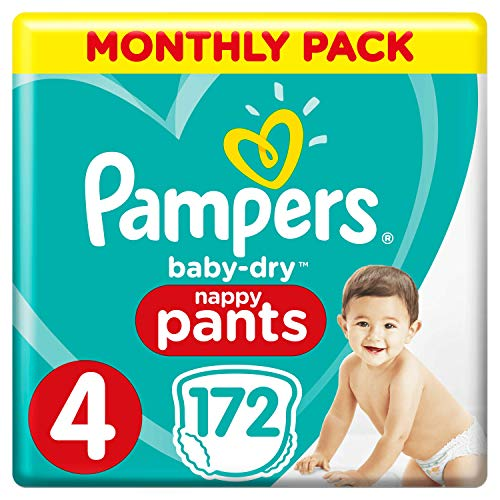 Pampers Baby-Dry Nappy Pants Size 4, 172 Nappy Pants, Monthly Saving Pack, Easy-On with Air Channels for Up to 12 Hours of Breathable Dryness, 9-15 kg