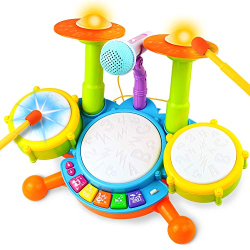 Fajiabao Drum Set for Kids with 2 Drum Sticks 1 Microphone with Light & Background Music Toy Electric Drum Musical Instruments Toys Gift for Boys Girls Children Toddlers Baby Infant