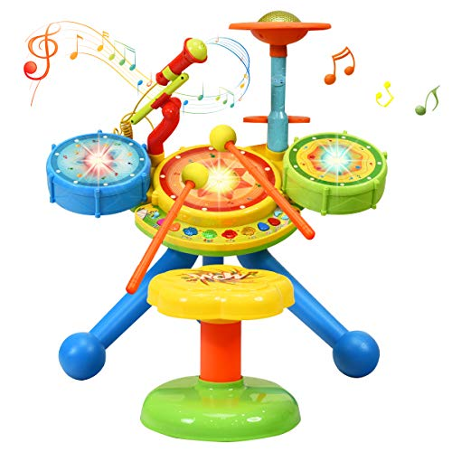 COSTWAY 2-in-1 Kids Drum Set, Electronic Toy Drum Kit with Music and Songs, Microphone, Drumsticks and Stool, Flash Lights Educational Puzzle Musical Instrument for Children Boys Girls