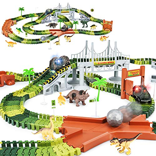 KKONES Dinosaur Toys-273pcs Create A Dinosaur World Road Race-Flexible Track Playset and 2 pcs Cool Dinosaur car for 3 4 5 6 Year & Up Old boy Girls Best Gift (Green)