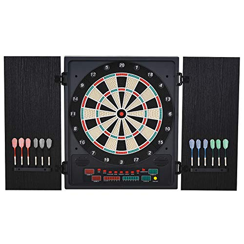 HOMCOM Electronic Hanging Dartboard Set 27 Games and 202 Variations with 12 Soft Tip Darts and Cabinet to Storage Multi-Game Option Ready-to-Play