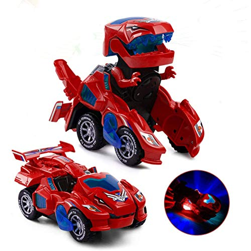 Dinosaur Transforming Car Electric Dinosaur Toys Automatic Transforming Dinosaur Car with Flashing Lights and Sound for 3-7 Years Old Boys Girls Educational Toy Birthday Xmas Gifts for Kids