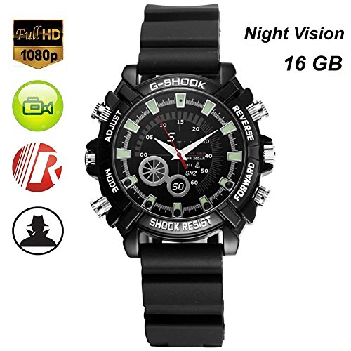 Full HD 1080P Camera Waterproof Watch Mini DV Recorder with Infrared Night Vision Digital Video DVR 16GB Memory@Laing