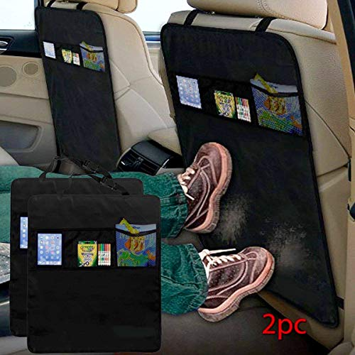ADEPTNA  2 Pack Car Organizers Kick Mat Car Seat Protector Cover 3 Mesh Pockets Toy Storage Organiser Kids
