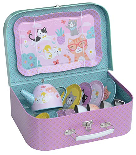Jewelkeeper 15 Piece Kids Tin Tea Set & Carrying Case - Cat Design