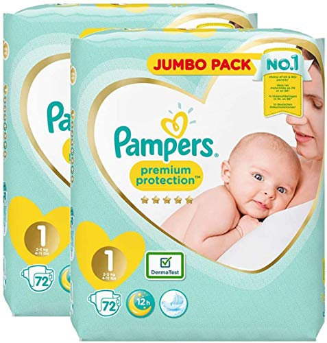 Pampers Size 1 New Baby Nappies, JUMBO PACK, Protection For Sensitive Newborn Skin (2-5 kg / 4-11 lbs), 72 x 2 pack