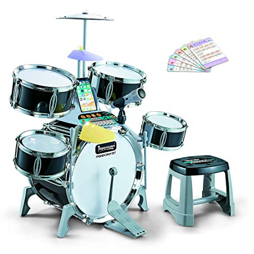 Dittzz Kids Jazz Drum Set, Rock Band Drum Kit, Musical Instrument Play Set with Light and Microphone for 3-10 Years Old
