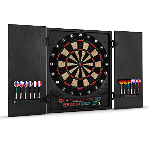 OneConcept Dartmaster 180 - Automatic dartboard, Electronic dartboard, LED, 12 Darts, Darts, Up to 8 players, Virtual rival, 2 doors, 150 game modes, 9 buttons, Plastic tip, Black
