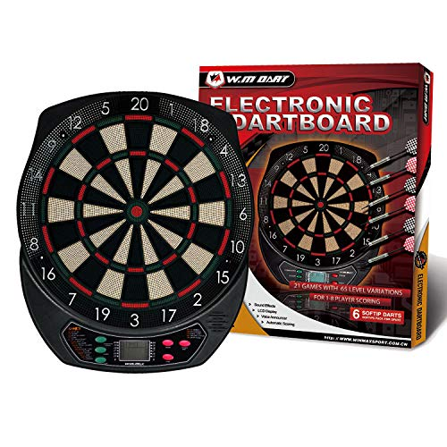 WIN.MAX Electronic Soft Tip Dartboard Set LCD Display with 6 Darts, 40 Tips, Power Adapter (1)