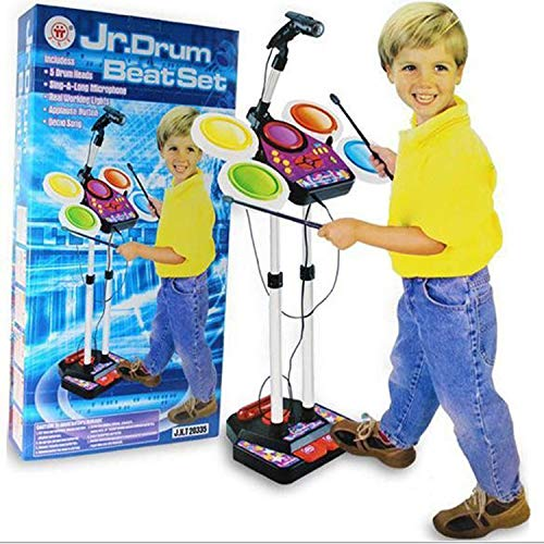 Kids Junior Electronic Drum Kit Beat Set Musical Toy with Microphone & Lights Pedal Drumsticks