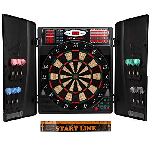 Ultrasport electric dartboard, with and without doors, electronic dartboard for up to 16 players, including throw line, 12 darts and 100 soft tips, suitable for parties and game nights