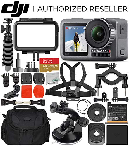DJI Osmo Action 4K Camera with 64GB Starter Accessory Bundle – Includes: SanDisk Extreme 64GB microSDXC Memory Card + Carrying Case + Suction Cup Mount + Bike Mount Kit + Flexible Tripod + More