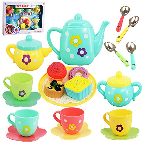 20 Piece Kids Pretty Flower Tea Set Party & Cake Play Set Teapot Role Pretend Toy