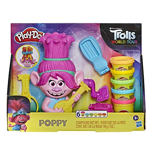 Play-Doh Trolls World Tour Rainbow Hair Poppy Styling Toy for Children 3 Years and Up with 6 Non-Toxic Play-Doh Colours