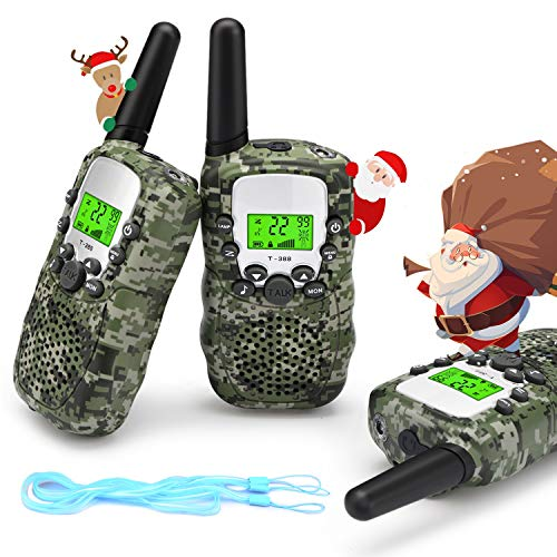 Fansteck Camouflage Walkie Talkies for Kids,8 Channels 2 Way Radio Toys with Backlit LCD Flashlight, 3 Km Long Range for Outside Camping, Hiking, Gift Toy for Children 3 4 5 6 Years Old [3 Packs]