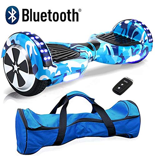 Nero Sport Blue Camo 6.5' Electric Self Balance Hover Scooter Board with 2 wheels and Bluetooth - Includes carry bag and remote key