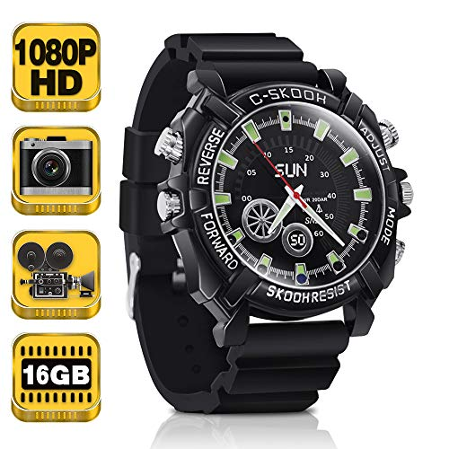 1080P HD Hidden Camera Watch - Mini Body Camera Recorder Support Photo Taking, Voice Recording, 16GB Memory Built-in