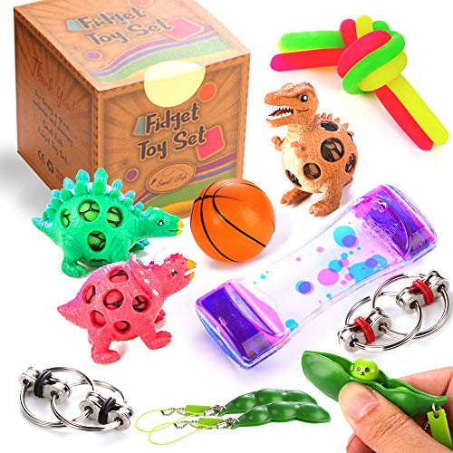 OBEDA Sensory Toys for for Autism, ADHD, Stress Relief, Anti-Anxiety. Fidget Toys Set for Kids and Adults. Liquid Motion Timer, Dinosaur Squeeze Balls, Flippy Chain and More