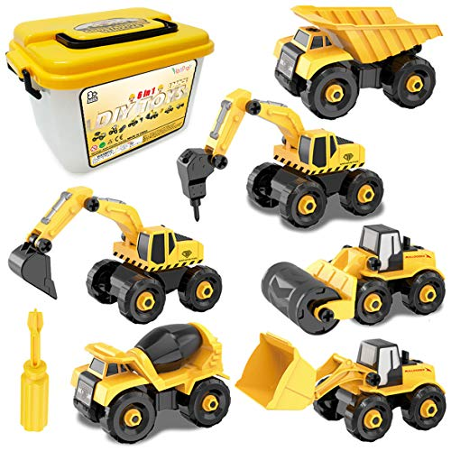 Take-Apart Construction Vehicles Excavators Truck Toy with Storage Box, 6 in 1 DIY Building Educational Gift Toys for Boys Girls Age 3 4 5