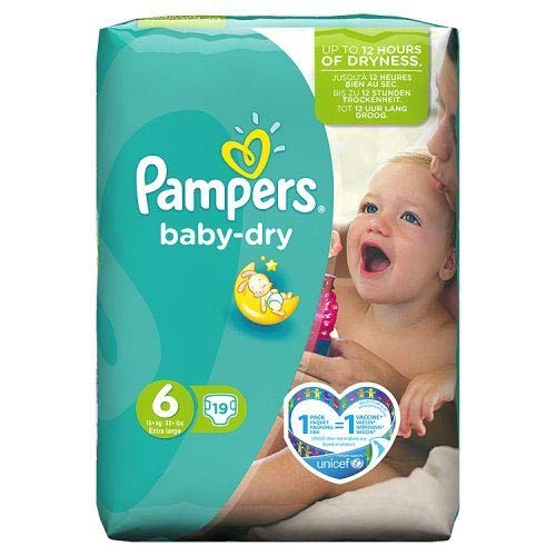 Pampers Baby Dry Nappies Size 6 (Extra Large), Pack of 19