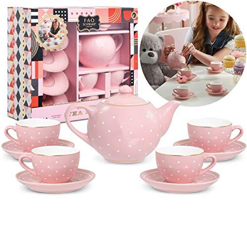 FAO Schwarz Ceramic Tea Party Set for Kids, Pink Polka Dot, 9 Pieces