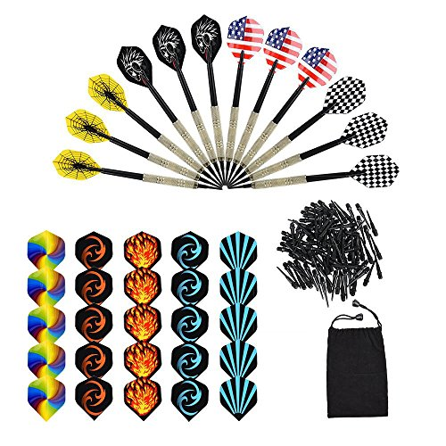 OIZEN Darts Sets, 12 Packs Soft Darts with Soft Tip Points for Electronic Dartboard with Extra 30 Dart Flights and 100 Black Plastic Dart Tips, Brass-plated Steel Barrels